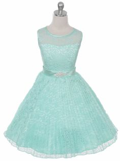 Mint Lovely Pleated Lace Illusion Neckline Flower Girl Dress (Available in Sizes in 8 Colors) Girls Lace Dress, Ivory Flower Girl Dresses, Lace Flower Girls, Junior Bridesmaid Dresses, Lace Flowers, Little Girl Dresses, Blue Dresses, Vintage Dresses, Girls Dresses