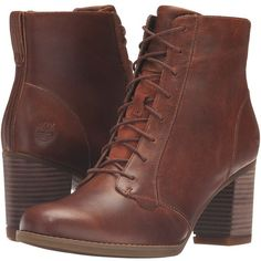 Timberland Atlantic Heights Lace Chukka Boot (Medium Brown Full Grain)... (1.330 NOK) ❤ liked on Polyvore featuring shoes, boots, brown lace-up boots, laced up boots, brown boots, lace front boots and timberland shoes