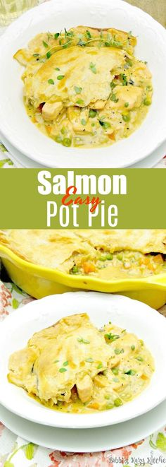 Salmon Pot Pie - Salmon, enveloped in a rich creamy broth, all covered in a light and flaky crust. Move over chicken pot pie, this salmon pot pie is going to take your place as the family favorite! #fish #salmon #seafood #pie #comfortfood #easy #recipe | bobbiskozykitchen.com