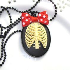 Polka Dot Ribcage Cameo Necklace