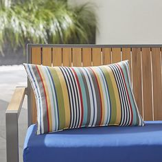 Sunbrella ® Sailing Striped Outdoor Lumbar Pillow | Crate and Barrel