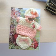 dollhouse dolls clothes baby doll knitted outfit 12th scale miniature by Rainbowminiatures on Etsy