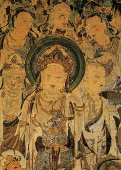 Mural of Avalokiteśvara (Guanyin). Worshipping Bodhisattvas and Mendicant in cave # 57. Figures originally adorned with gold leaves. Early Tang Dynasty. Mugao caves, Dunhuang, China