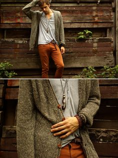 Cardigan sweater + Burnt Orange chino pants. Light blue t shirt