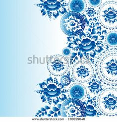 Vintage shabby Chic ornament with blue flowers and leaves.  by EkaterinaP, via Shutterstock