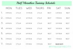 Half Marathon Training Schedule. Really? Max out at 9 before the race day? Seems weird