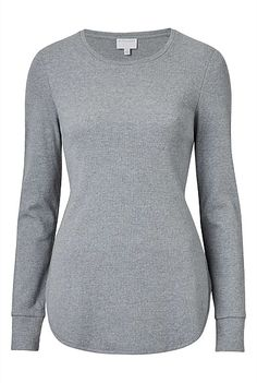Curved Hem Rib Top | Clothing Ribbed Top, Simple Outfits, Blue Grey, Men Sweater, Pullover, Long Sleeve, Sweaters, Cotton, Colour