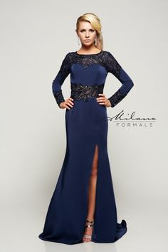 This long-sleeve dress from Milano offers a beautiful blend of sparkle and elegance with sequins, lace and stretch satin.