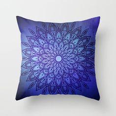 Dark Mandala in Indigo Blue Throw Pillow by Kelly Dietrich