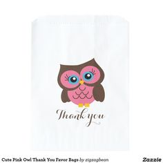 Cute Pink Owl Thank You Favour Bags