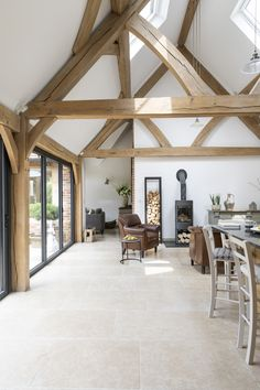 Border Oak vaulted ceiling in kitchen
