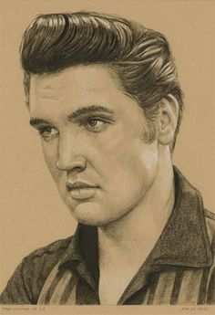 Elvis in charcoal #152, The summer of '56 by © Rob de Vries |  Charcoal, ink and white chalk on colored paper, 21 x 15 cm | Take a look at the artist's website: http://www.elvis-art.com/ Also see the original photo of Elvis with Bernard Lansky at Lansky's (clothing store) on 126 Beale Street in Memphis, TN on Thursday, June 14, 1956. https://www.pinterest.de/pin/380906080959277893/