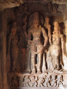 Harihara flanked by Parvati and Lakshmi, Badami Cave 3, Chalukyas, about 578AD.