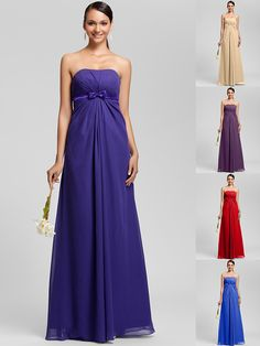 Floor-length Chiffon Bridesmaid Dress - Regency / Royal Blue / Ruby / Champagne / Grape Plus Sizes / Petite Sheath/Column Strapless - USD $ 79.99