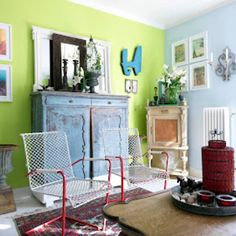chartreuse wall + pale blue wall
