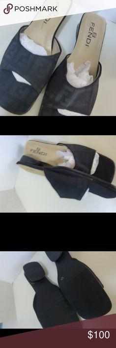 """Fendi Black Slides Sandals Shoes Size 42 / 9 Fendi Black Slides Sandals Shoes Size 42 / 11 Good condition Evenly spaced Logo letters No visible glue lines Obvious quality  1"""" heel Fendi Shoes Sandals"""