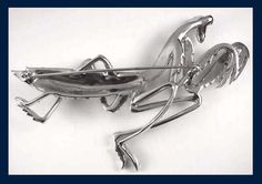 praying mantis jewelry | Boucher (unsigned) Pavé Rhinestone Praying Mantis Pin