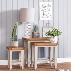 Add style and functionality to your living room space with Chester Grey Painted Oak Nest of 3 Tables. Perfect for when you have company over, this set of Nesting Tables can be positioned in a variety of ways to suit your space. This Nest of Tables feature Oak, Table, Furnishings, Living Dining Room, Oak Furniture, Living Room Spaces, Grey Paint, Grey Table, Long Living Room Layout