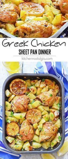 Greek Chicken Sheet Pan Dinner Greek Chicken Sheet Pan Dinner - chicken thighs and potatoes in lemon, garlic, oregano and olive oil marinade - all baked in one pan while you're relaxing! This easy dish brings true Mediterranean flair to your kitchen Greek Chicken And Potatoes, Recipe Sheets, Sheet Pan Suppers, Le Diner, Greek Recipes, Greek Chicken Recipes, Baked Greek Chicken, Recipe Chicken, Chicken Pasta