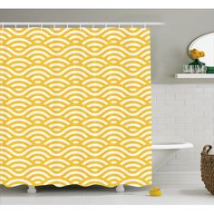 Yellow and White Shower Curtain, Horizontal Abstract Sea Ocean Waves Summer Beach Coast Holiday Theme, Fabric Bathroom Set with Hooks, 69W X 84L Inches Extra Long, Marigold White, by Ambesonne #beachthemedweddings