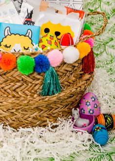 llama themed Easter basket with Puffy Paint floral Easter eggs Plastic Easter Eggs, Easter Egg Crafts, Crafty Games, Toy Basket, Painting Plastic, Puffy Paint, Upcycled Crafts, Egg Decorating, Easter Baskets