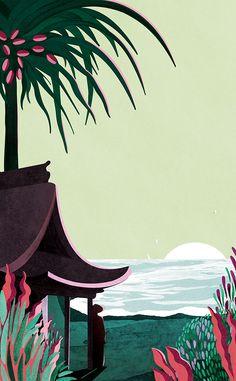 VO | Valérie Oualid : Agent d'illustrateurs | Léa Morichon | Sud Lointain Art Et Illustration, Illustrations, Vintage Poster, Print Wallpaper, Art Design, Acrylic Art, Landscape Art, Art Forms, Fantasy Art