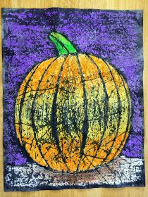 I've been wanting to try crayon batik for a long time. I love using a pumpkin for this project because the orange and black look so...