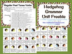 Sublime Speech: Freebie-Hedgehog Grammar Unit. Pinned by SOS Inc. Resources. Follow all our boards at pinterest.com/sostherapy for therapy resources.