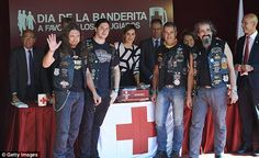 The monarch met leather-clad bikers at the Red Cross booth in  Madrid, Spain