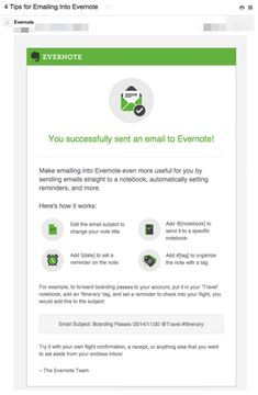 Milestone email from Evernote
