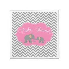 Modern Elephant Chevron Pink Gray Baby Shower Disposable Napkins