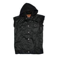 ROTTEN VEST | IDR 250.000 | denim vest features a true black coated denim tone and a black fleece hood.