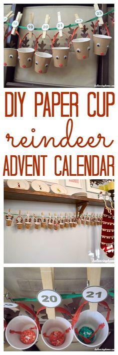 Christmas Crafts for Kids! Fun DIY paper cup reindeer advent calendar.