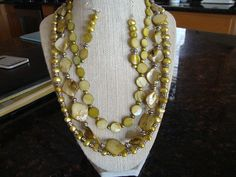 Tri-Strand Light Green Pearl Necklace and Earrings on Etsy, $55.00