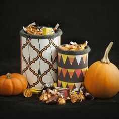Halloween Candy Container - Print out your favorite Pattern Pod pattern and cover an old tin can, a nice addition to your home office decor! Check out some of the other products you can make using Pattern Pod patterns by going to our site! www.patternpod.com #patternpod #patternpodpossibilities #DIY