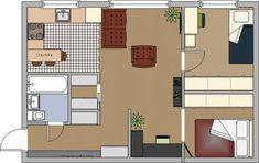 Перепланировка двухкомнатной хрущевки (кухня-гостиная, спальня, детская)