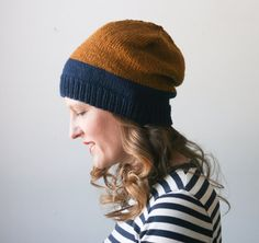 Get cozy in a color-block beanie.