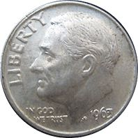 """1963 Roosevelt Dime  Mint Mark: No mint mark  Face Value: 0.10 USD  Total Produced: 123,650,000 [?]  Silver Content: 90%  Silver Weight: .0723 oz.  Silver Melt: $2.09  Value: As a rough estimate of this coins value you can assume this coin in poor condition will be valued at somewhere around $3, while one in """"perfect"""" condition can bring $7."""