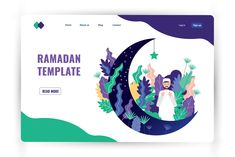 Ad: Ramadan Illustration and Web Header by Mangsaabguru on Ramadan Illustration and Web Header 6 illustration + 6 Web Header ( White Theme) + 6 Web Header ( Dark Theme) Every illustration include - Poster Ramadhan, Ramadan Poster, Web Design Websites, Dark Drawings, Backdrop Design, Web Layout, Page Design, Design Ideas, Cartoon Kids