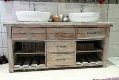 This pallet wood vanity and storage cupboard will surely help you a lot to organize your toiletries and related stuff. The marble top will keep it clean and safe from getting swollen up from the moisture in the washroom. However, the rustic wood will have antique impact on the overall interior of your washroom, giving you ample storage space.