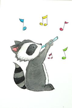 Cute drawing of raccoon with magic flute