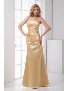 Satin Strapless Sheath Floor Length Gathered Ruched Prom Dress