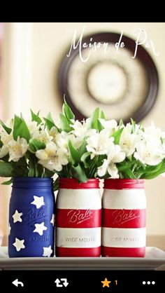 Red white and blue perfect decor for Fourth of July or a patriotic wedding !
