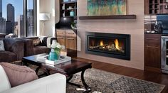 Gas Fireplace - Shown with Verona glass surround in pure black and driftwood log set