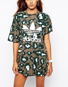 Enlarge Adidas Originals Camo Asymmetric T-Shirt Dress