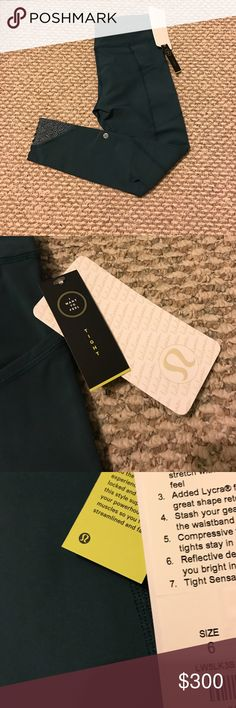 NWT lululemon green tight stuff stuffy II Going to return by the end of the week but giving you girlies an opportunity to get them before I do. This color is no longer available in these tights. Size 6 super cute and comfy. lululemon athletica Pants Leggings