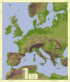 for Clan of the Cave Bear books - - - Relief map of Europe.