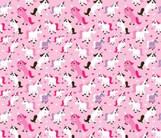 Pink unicorn girl fabric fabric by littlesmilemakers on Spoonflower - custom fabric