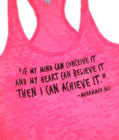 Muhammad Ali quote Women's workout tanktop by AbundantHeartApparel, $26.00