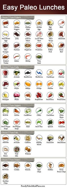 Easy Paleo Lunches - choose 1 from proteins 1 from fruits 1 from veggies 1 from fats 1 from snacks. Eat
